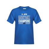 Youth Royal T Shirt-2017 Womens Basketball Champions Stacked