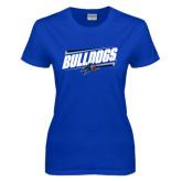 Ladies Royal T Shirt-Slanted Bulldogs w/ Logo