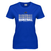 Ladies Royal T Shirt-UNC Asheville Basketball Repeating