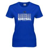 Ladies Royal T Shirt-UNC Asheville Basketball Repeating