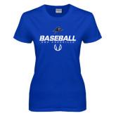 Ladies Royal T Shirt-UNC Asheville Baseball Stencil