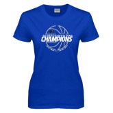 Ladies Royal T Shirt-Mens Basketball Champions with Ball