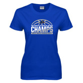 Ladies Royal T Shirt-Mens Basketball Champions Half Ball