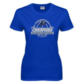 Ladies Royal T Shirt-Mens Basketball Champions Ball with ribbon