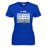 Ladies Royal T Shirt-2017 Mens Basketball Champions Repeating