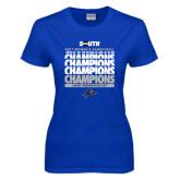 Ladies Royal T Shirt-2017 Womens Basketball Champions Repeating