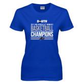 Ladies Royal T Shirt-2017 Womens Basketball Champions Stacked