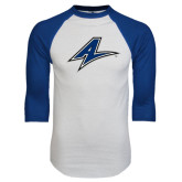 White/Royal Raglan Baseball T Shirt-A