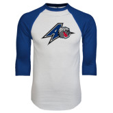 White/Royal Raglan Baseball T Shirt-A w/ Bulldog Head