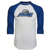 White/Royal Raglan Baseball T Shirt-Bulldogs w/ Bulldog Head