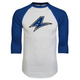 White/Royal Raglan Baseball T Shirt-A Distressed