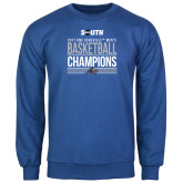 Royal Fleece Crew-2017 Mens Basketball Champions Stacked