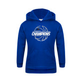 Youth Royal Fleece Hoodie-Mens Basketball Champions with Ball