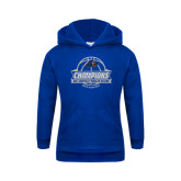 Youth Royal Fleece Hoodie-Mens Basketball Champions Ball with ribbon