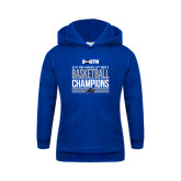 Youth Royal Fleece Hood-2017 Mens Basketball Champions Stacked