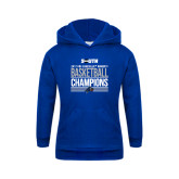 Youth Royal Fleece Hood-2017 Womens Basketball Champions Stacked