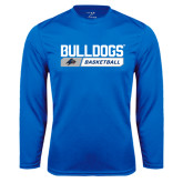 Syntrel Performance Royal Longsleeve Shirt-Bulldogs Basketball Bar