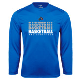 Syntrel Performance Royal Longsleeve Shirt-UNC Asheville Basketball Repeating