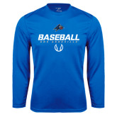 Performance Royal Longsleeve Shirt-UNC Asheville Baseball Stencil
