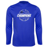 Performance Royal Longsleeve Shirt-Mens Basketball Champions with Ball