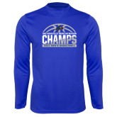 Syntrel Performance Royal Longsleeve Shirt-Mens Basketball Champions Half Ball
