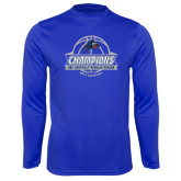 Syntrel Performance Royal Longsleeve Shirt-Mens Basketball Champions Ball with ribbon