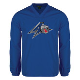 V Neck Royal Raglan Windshirt-A w/ Bulldog Head