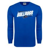 Royal Long Sleeve T Shirt-Slanted Bulldogs w/ Logo