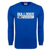 Royal Long Sleeve T Shirt-Bulldogs Basketball Bar