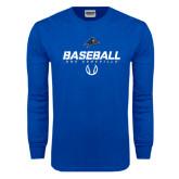 Royal Long Sleeve T Shirt-UNC Asheville Baseball Stencil