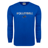 Royal Long Sleeve T Shirt-Volleyball w/ Ball
