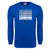 Royal Long Sleeve T Shirt-Mens Basketball Champions Stacked