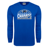Royal Long Sleeve T Shirt-Mens Basketball Champions Half Ball