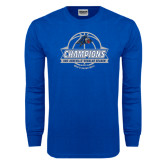 Royal Long Sleeve T Shirt-Mens Basketball Champions Ball with ribbon