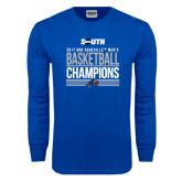 Royal Long Sleeve T Shirt-2017 Mens Basketball Champions Stacked