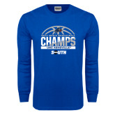 Royal Long Sleeve T Shirt-2017 Mens Basketball Champions Half Ball
