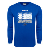 Royal Long Sleeve T Shirt-2017 Mens Basketball Champions Repeating