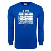 Royal Long Sleeve T Shirt-2017 Womens Basketball Champions Repeating