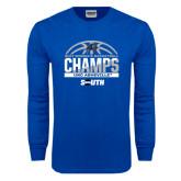 Royal Long Sleeve T Shirt-2017 Womens Basketball Champions Half Ball