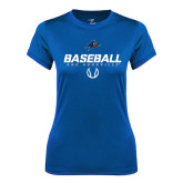 Ladies Syntrel Performance Royal Tee-UNC Asheville Baseball Stencil