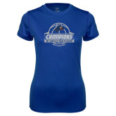 Ladies Syntrel Performance Royal Tee-Mens Basketball Champions Ball with ribbon
