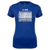 Ladies Syntrel Performance Royal Tee-2017 Womens Basketball Champions Repeating