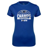 Ladies Syntrel Performance Royal Tee-2017 Womens Basketball Champions Half Ball