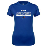 Ladies Syntrel Performance Royal Tee-2017 Womens Basketball Champions