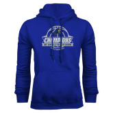 Royal Fleece Hoodie-Mens Basketball Champions Ball with ribbon