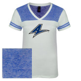 Ladies White/Heathered Deep Royal Juniors Varsity V Neck Tee-A