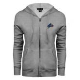 ENZA Ladies Grey Fleece Full Zip Hoodie-A w/ Bulldog Head