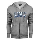 ENZA Ladies Grey Fleece Full Zip Hoodie-Arched UNC Asheville