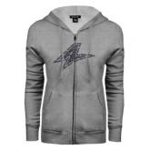 ENZA Ladies Grey Fleece Full Zip Hoodie-A Graphite Glitter