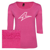 Ladies Dark Fuchsia Heather Tri Blend Lace 3/4 Sleeve Tee-A